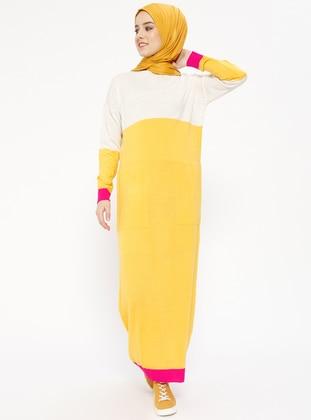 Triko Elbise - Bej Sarı - Zentoni Ürün Resmi