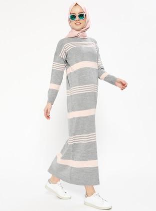 triko elbise - gri pudra - zentoni