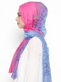 Blue - Fuchsia - Printed - Acrylic - Shawl
