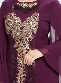Purple - Multi - Fully Lined - Crew neck - Muslim Plus Size Evening Dress