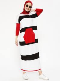Cepli Triko Elbise - Beyaz Kırmızı - Zentoni
