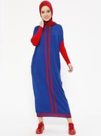 Cepli Triko Elbise - Saks Kırmızı - Zentoni