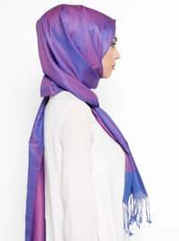 Purple - Plain - Fringe - Shawl