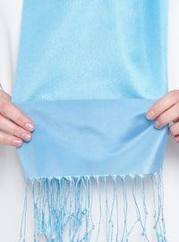 Blue - Plain - Fringe - Shawl