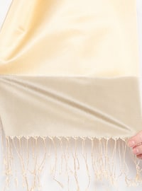 Yellow - Plain - Fringe - Shawl