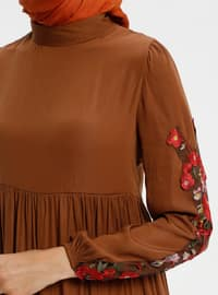 Brown - Polo neck - Unlined - Dresses
