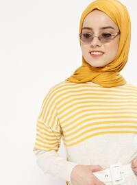Beige - Camel - Stripe - Crew neck - Unlined - Dresses