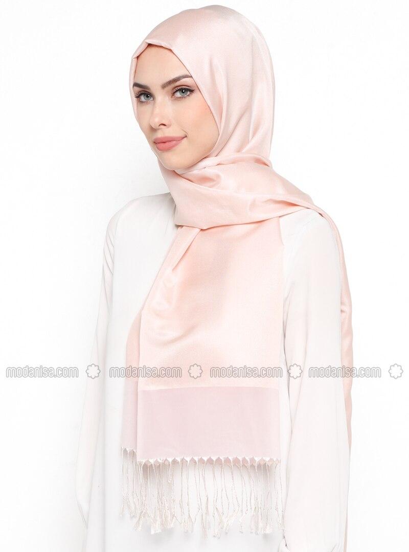 Pink - Plain - Fringe - Shawl
