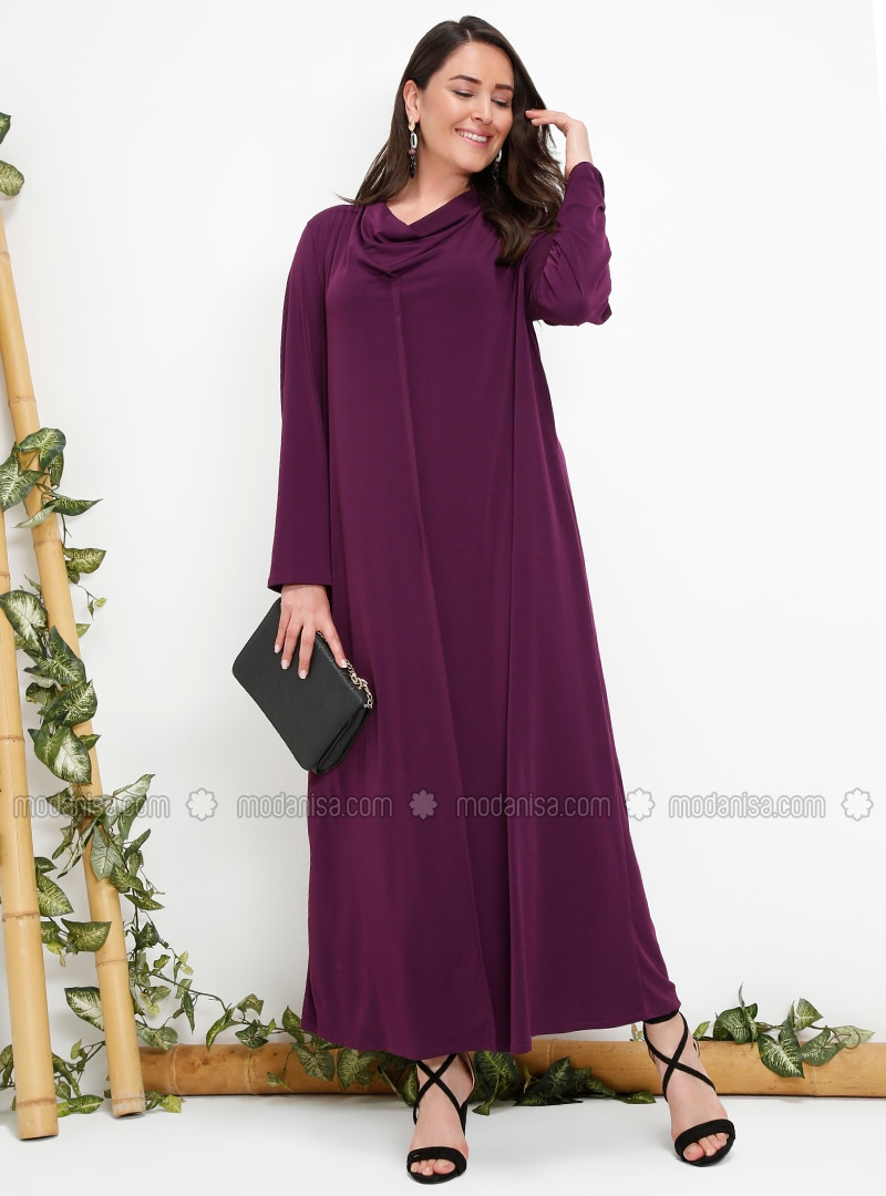 Purple - Plum - Unlined - Plus Size Dress