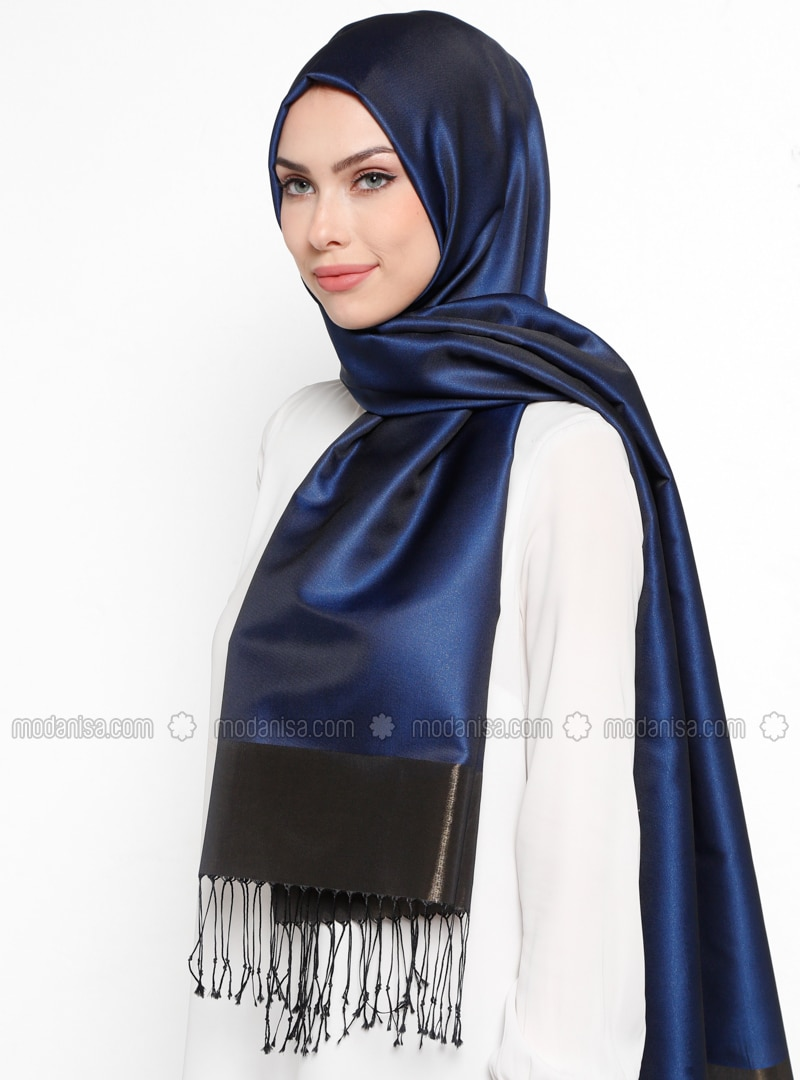 Navy Blue - Plain - Fringe - Shawl