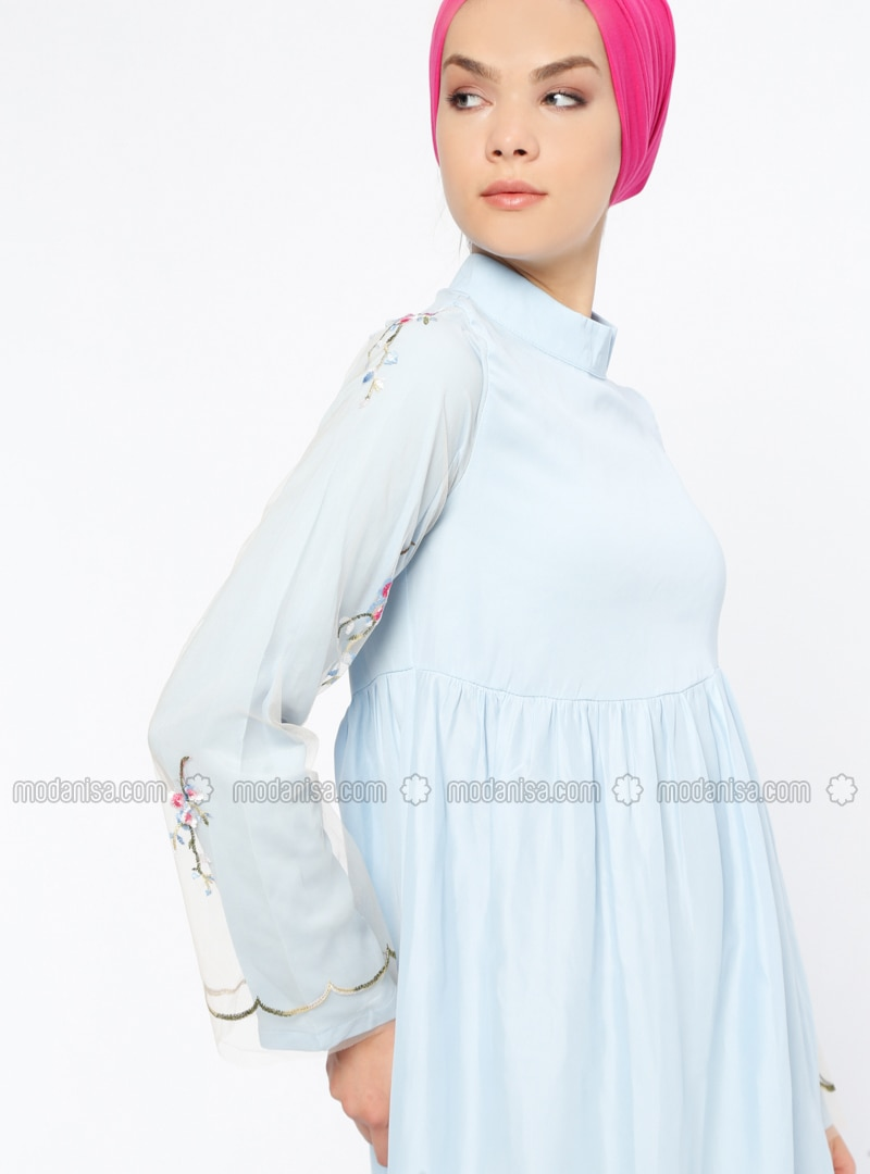 Blue - Polo neck - Unlined - Dresses