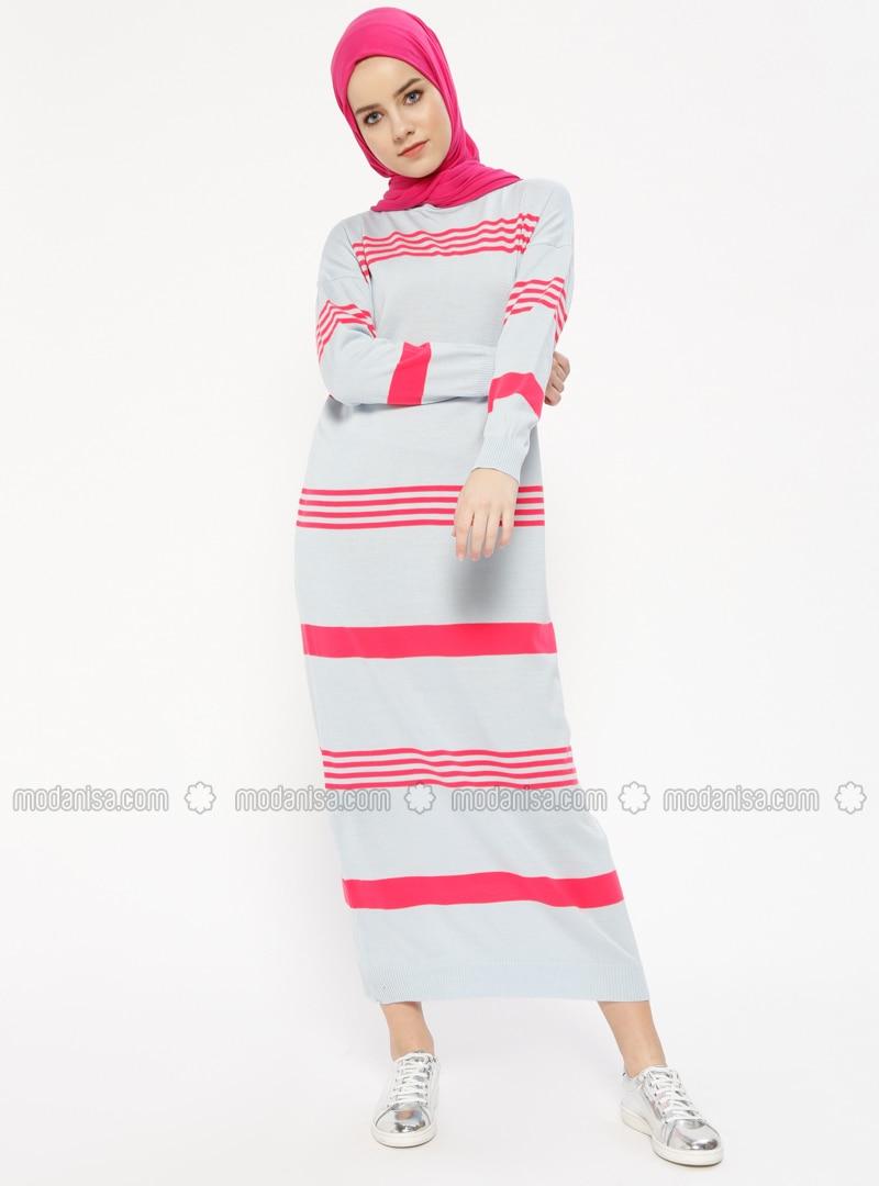 Blue - Pink - Stripe - Crew neck - Unlined - Dresses