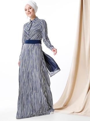 MisCats Çizgili Elbise - Lacivert