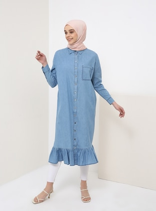 Blue - Point Collar - Cotton - Denim - Tunic