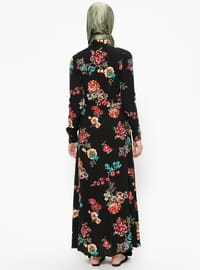 Black - Mint - Floral - Point Collar - Unlined - Viscose - Dresses