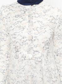 Gray - Ecru - Crew neck - Fully Lined - Dresses