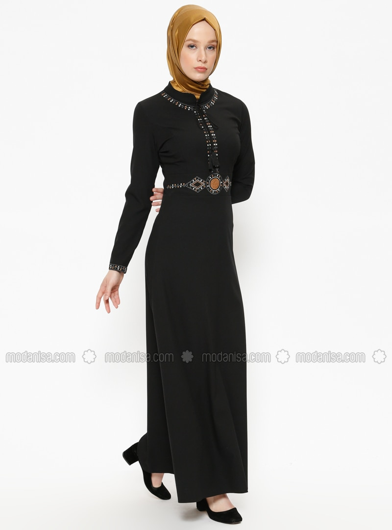 Black - Crew neck - Unlined - Dresses