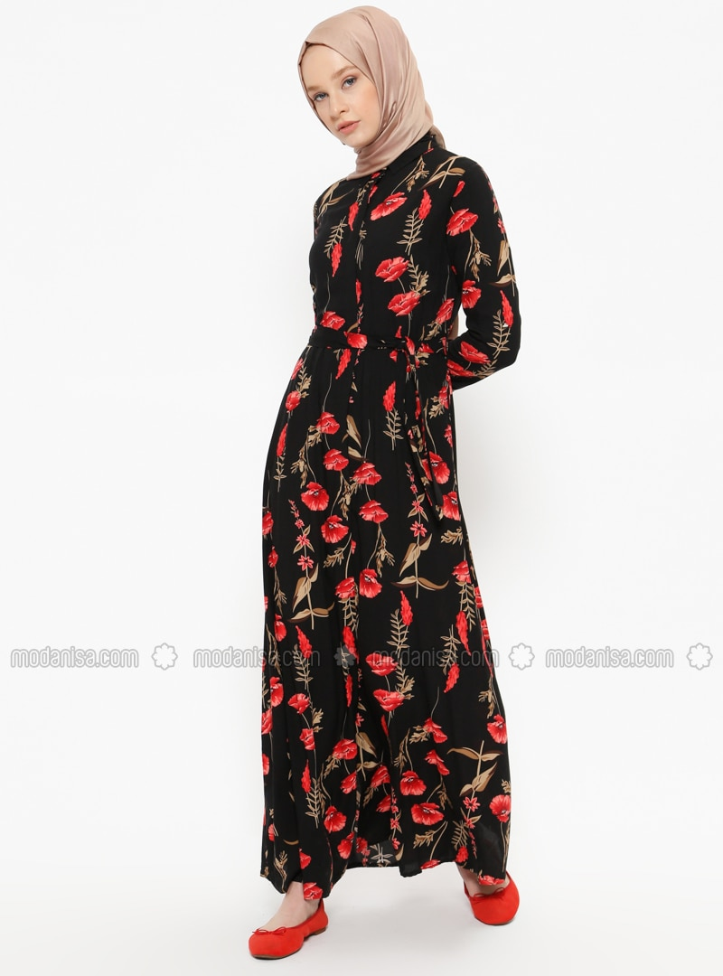 Black - Coral - Floral - Point Collar - Unlined - Viscose - Dresses