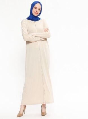 Beige - Crew neck - Unlined - Dresses