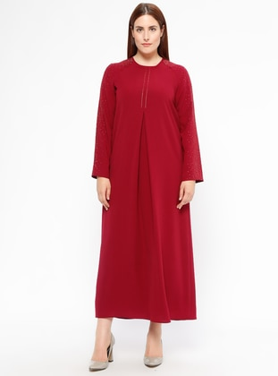 Maroon - Fully Lined - Crew neck - Plus Size Dress
