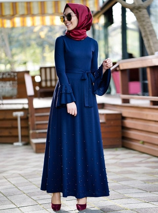 Navy Blue - Crew neck - Dresses