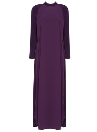 Purple - Polo neck - Fully Lined - Dresses