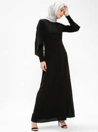 Black - Crew neck - Fully Lined - Dresses