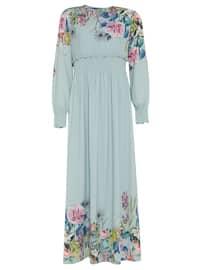 Desenli Elbise - Mint Yeşili - Armine