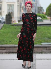 Red - Black - Floral - Crew neck - Unlined - Dresses