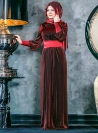 Sedef Abiye Elbise - Bordo - An-Nahar