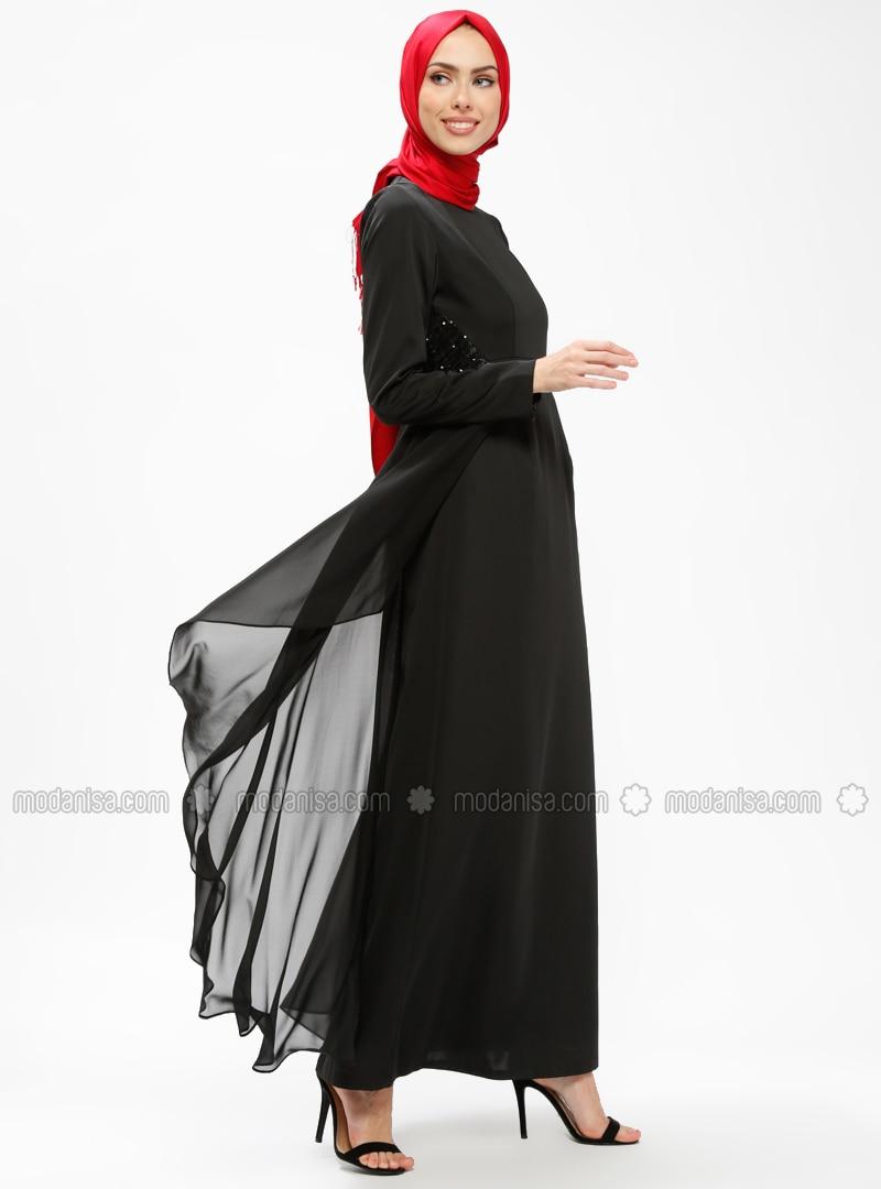 86ed423555de2 Payet Detaylı Elbise - Siyah