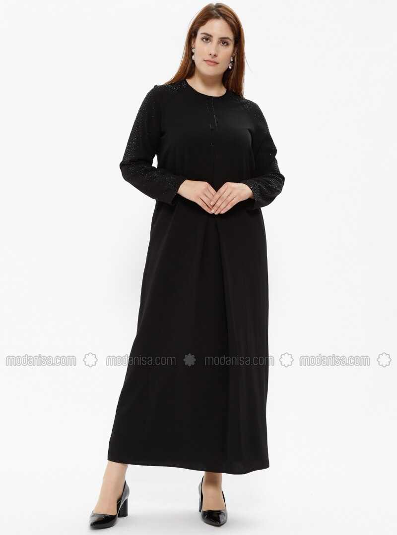 Black - Fully Lined - Crew neck - Polo neck - Plus Size Dress