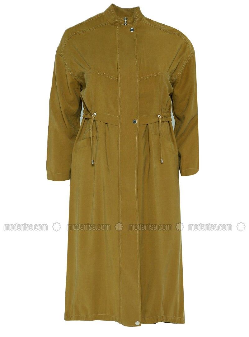 Khaki - Unlined - Crew neck - Topcoat