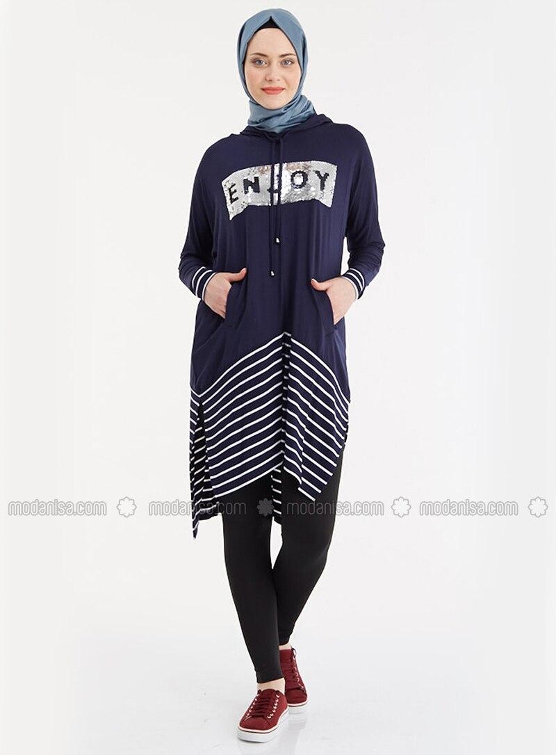Navy Blue - Stripe - Tunic