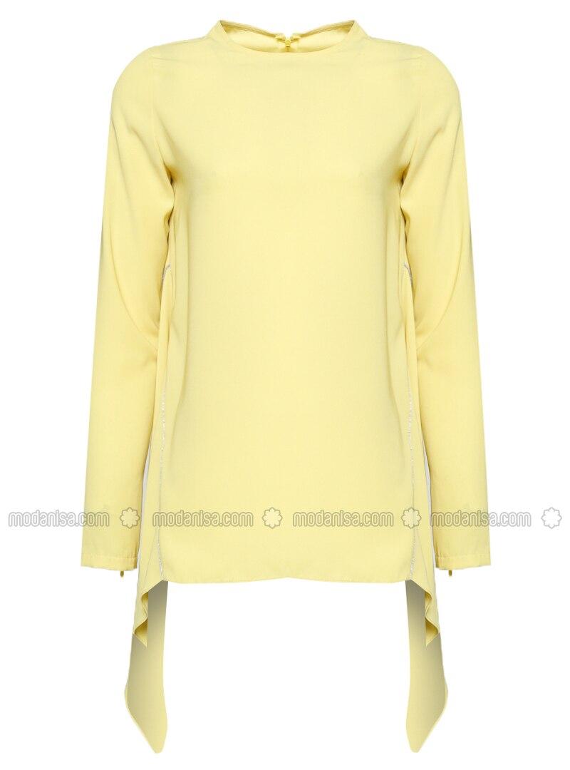 Yellow - Crew neck - Blouses