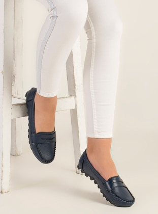 Navy Blue - Flat - Flat Shoes - Zenneshoes