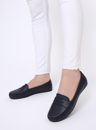 Navy Blue - Flat - Flat Shoes - Zenneshoes