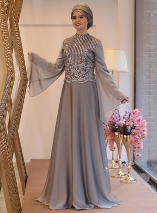 Gray Fully Lined Crew Neck Muslim Plus Size Evening Dress