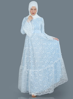 Blue - Ecru - Fully Lined - Crew neck - Muslim Evening Dress