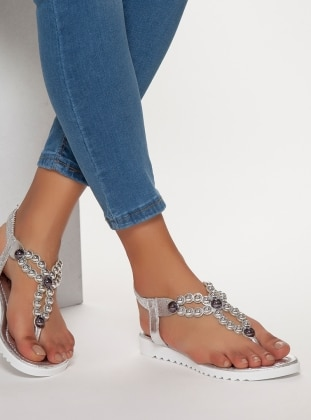 MODA AYAKKABI Sandalet - Gümüş