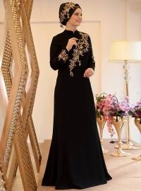 Defne Abiye Elbise - Siyah - Saliha
