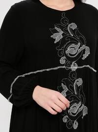 Black - Gray - Multi - Unlined - Crew neck - Dress - BAGİZA