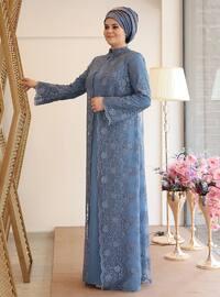 Nisanur Abiye Elbise - İndigo - Saliha