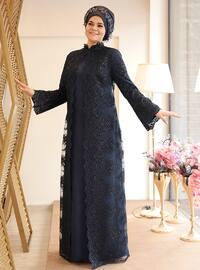 Nisanur Abiye Elbise - Lacivert - Saliha