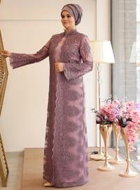 Nisanur Abiye Elbise - Lila - Saliha