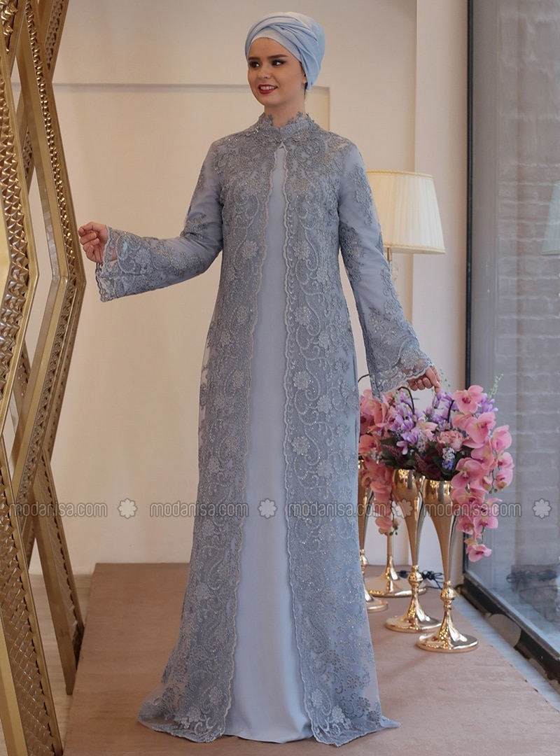Blue - Fully Lined - Crew neck - Muslim Plus Size Evening Dress
