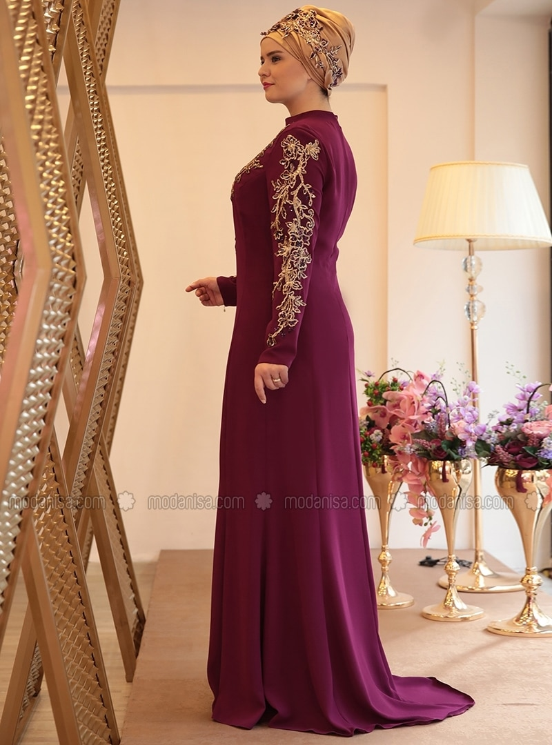 b33a1b78d6e81 Purple - Fully Lined - Crew neck - Muslim Plus Size Evening Dress
