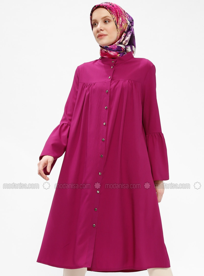 Pink - Purple - Plum - Button Collar - Tunic