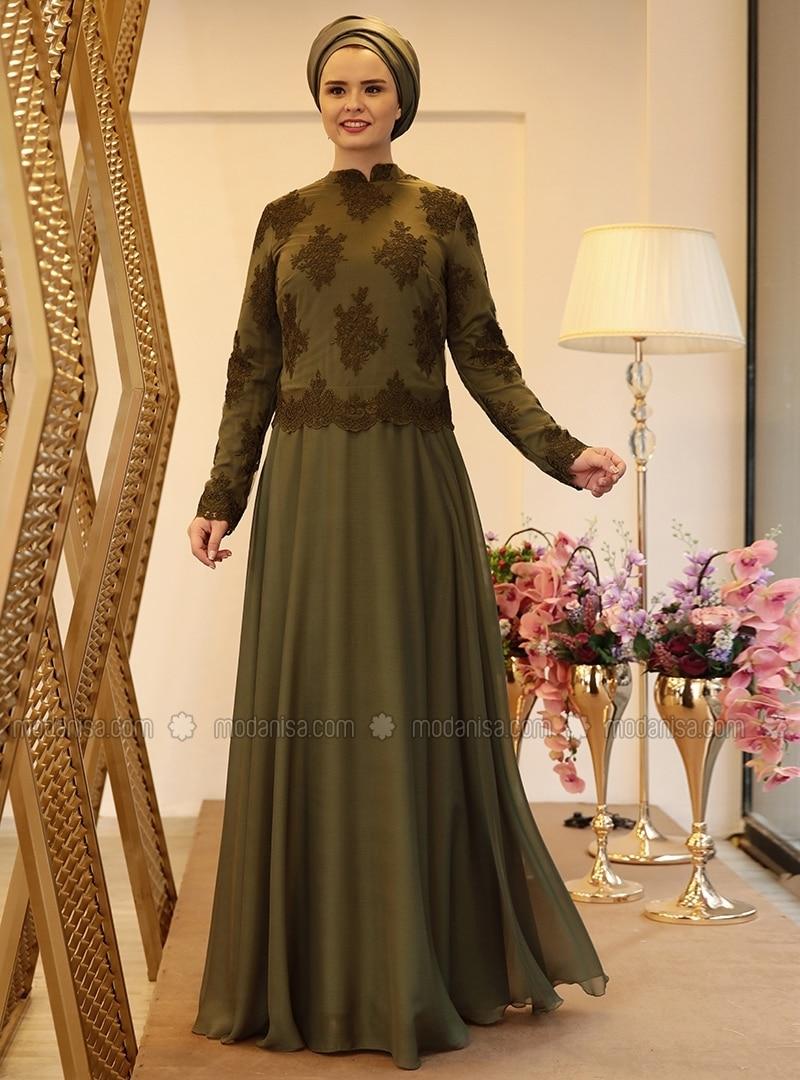 Khaki - Fully Lined - Crew neck - Muslim Plus Size Evening Dress
