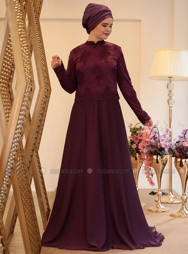 Purple - Fully Lined - Crew neck - Muslim Plus Size Evening Dress